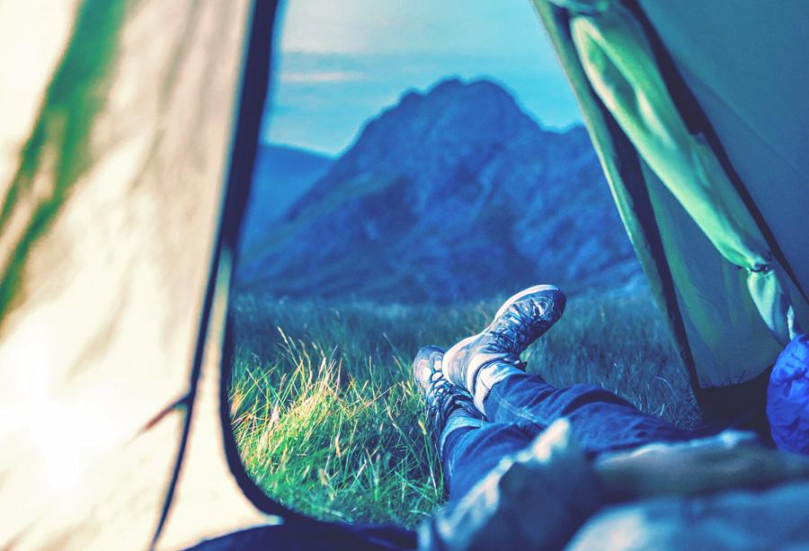 Aussicht aus einem Zelt