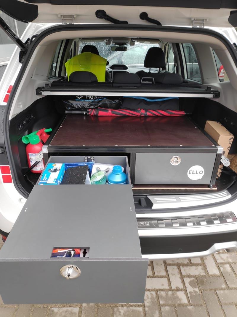 Ello Stauraumbox mit 2 Vollauszügen_passend für SUVs _Mitsubishi_Outlander _Subaru_Forester _BMW_X5_